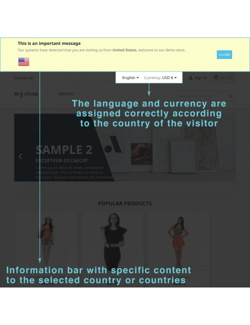 Infobar of the module Advanced Location Detection for PrestaShop