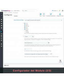 Settings of the module Estafeta Carrier for PrestaShop