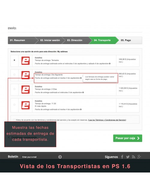 Services list of the module Estafeta Carrier for PrestaShop 1.6