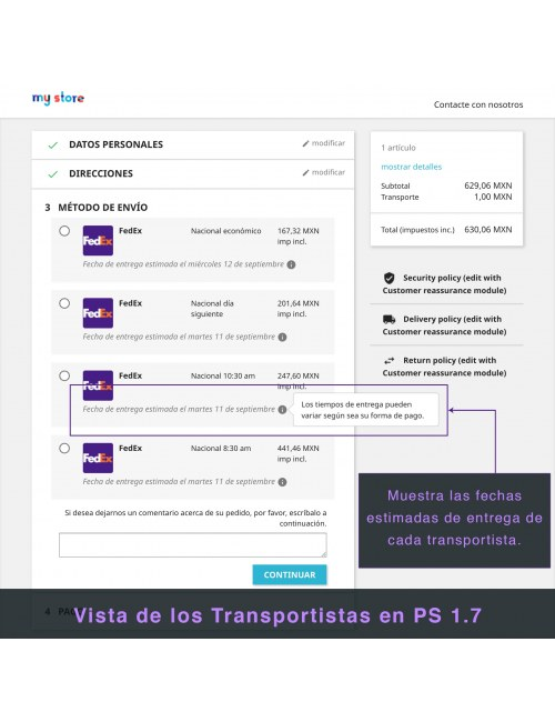 Services list of the module FedEx Carrier for PrestaShop 1.7