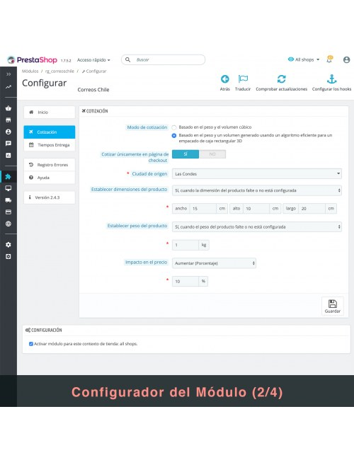 Settings of the module Correos Chile for PrestaShop