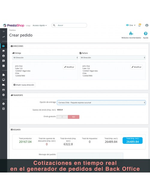 Order form of the module Correos Chile for PrestaShop