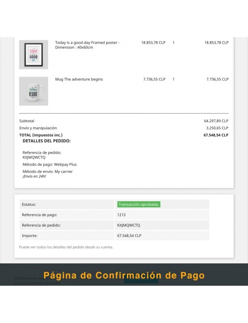 Payment confirmation page of the module Webpay Plus (Transbank) Module for PrestaShop