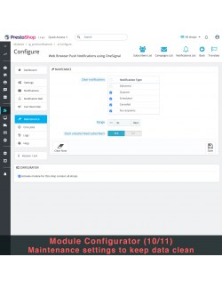 Maintenance settings of the module Web Browser Push Notifications using OneSignal for PrestaShop