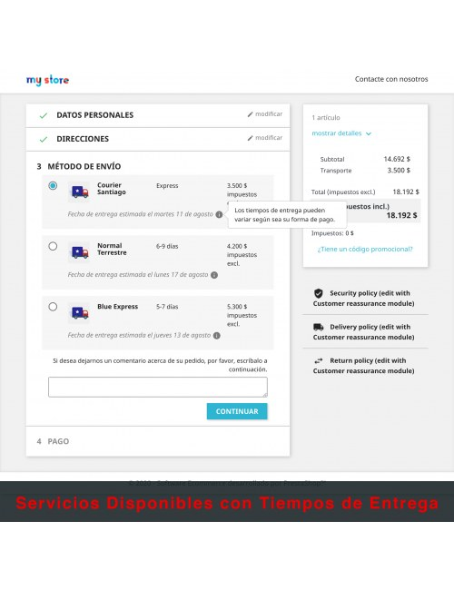 Services list of the module Custom Carriers for Chile for PrestaShop