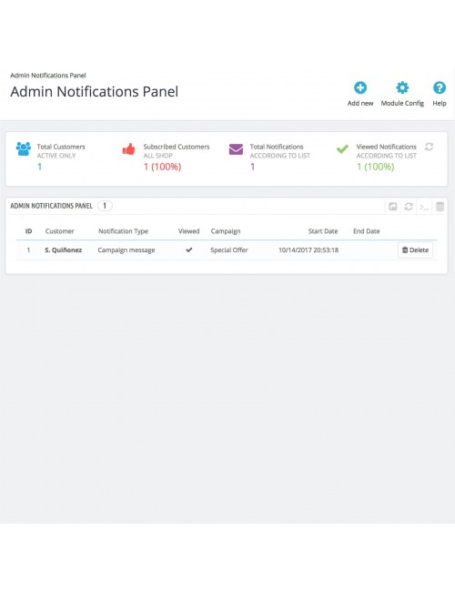 Admin notifications panel of the module Browser Notifications for PrestaShop